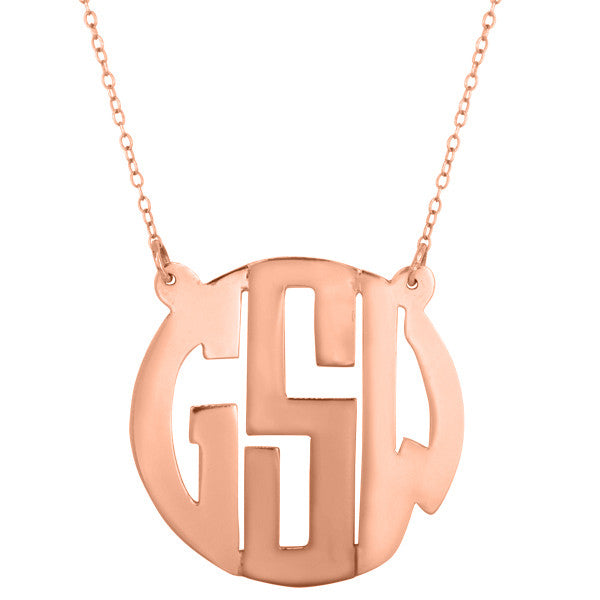 Rose Gold Cutout Monogram Necklace ~ Split Chain Apparel & Accessories > Jewelry > Necklaces - 2