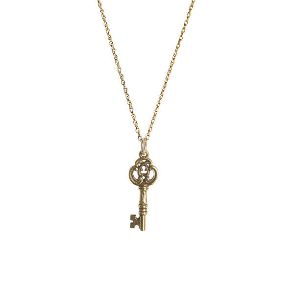 Antique 14K Gold Filled Antique Fancy Key Necklace Apparel & Accessories > Jewelry > Necklaces