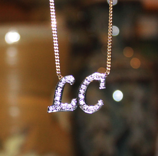CZ Initial Necklace - Kourtney Kardashian 3