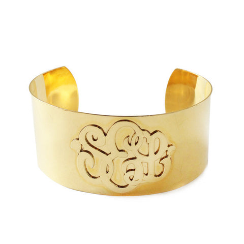 Gold Monogram Cuff Bracelet by Moon and Lola Apparel & Accessories > Jewelry > Bracelets - 1