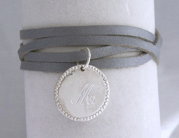 Sterling Silver Charmed Leather Wrap Bracelet Apparel & Accessories > Jewelry > Bracelets