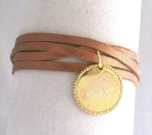 Gold Charmed Leather Wrap Bracelet Apparel & Accessories > Jewelry > Bracelets