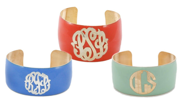 Enamel Monogram Cuff Bracelet Apparel & Accessories > Jewelry > Bracelets - 5