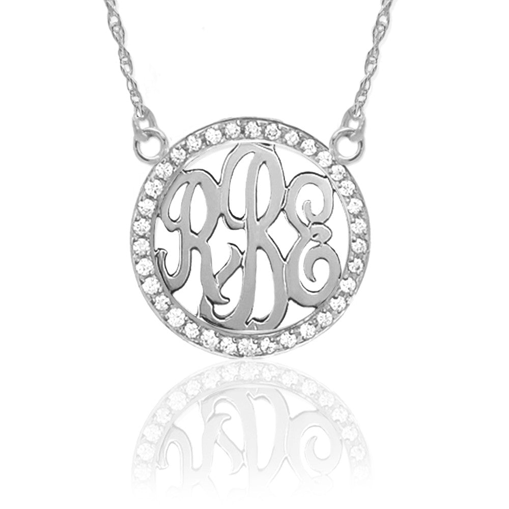Jane Basch Sterling Silver and 3/4 Inch Diamond Initial Necklace Apparel & Accessories > Jewelry > Necklaces