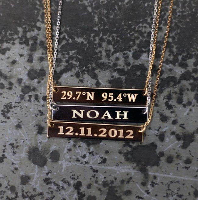 Personalized 14k Gold Bar Necklace Initial Obsession