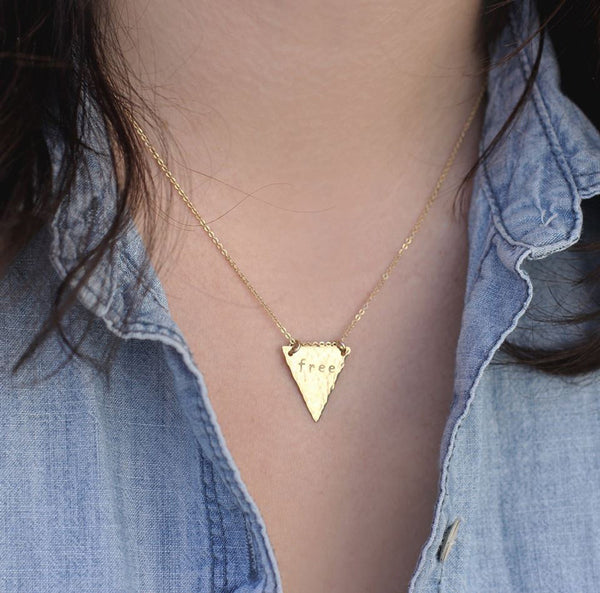Personalized Hand Stamped Triangle Necklace - Nashelle Apparel & Accessories > Jewelry > Necklaces - 2