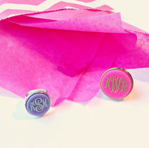 Acrylic Vineyard Round Monogram Ring by Moon and Lola Apparel & Accessories > Jewelry > Rings - 3