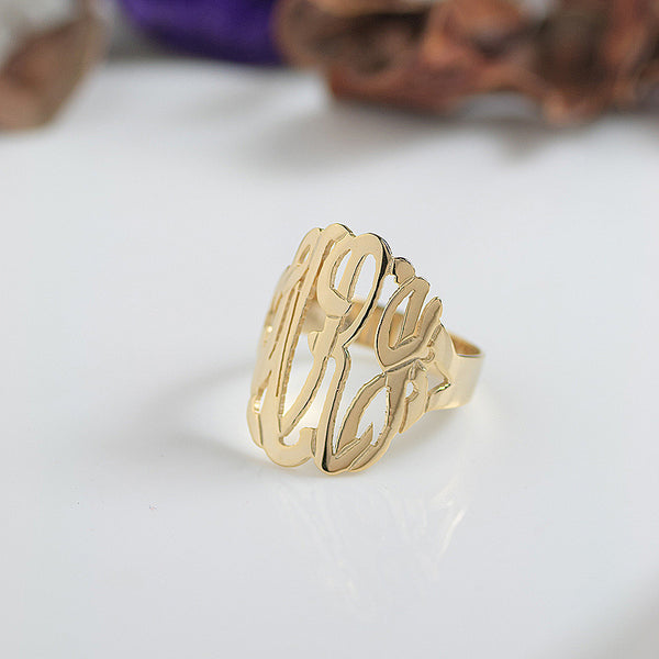 Gold Monogram Ring~7/8 Inch by Purple Mermaid Designs Apparel & Accessories > Jewelry > Rings - 1