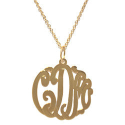 Gold Cutout Monogram Necklace Apparel & Accessories > Jewelry > Necklaces - 2