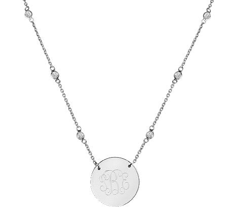 Silver Engraved Disc Cubic Zirconia Split Chain Necklace Apparel & Accessories > Jewelry > Necklaces - 4