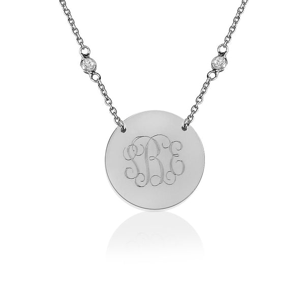 Silver Engraved Disc Cubic Zirconia Split Chain Necklace Apparel & Accessories > Jewelry > Necklaces - 1