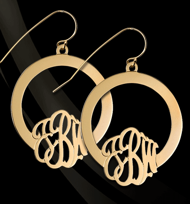 Jane Basch Hoop Monogram Earrings Apparel & Accessories > Jewelry > Earrings - 2