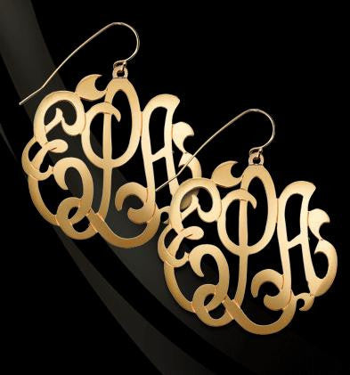 Jane Basch Gold Freeform Monogram Earrings Apparel & Accessories > Jewelry > Earrings - 1