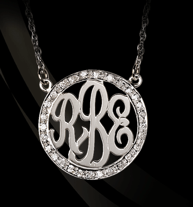 Sterling Silver and 3/4 Inch Diamond Monogram Necklace Apparel & Accessories > Jewelry > Necklaces - 1