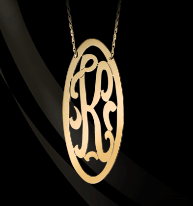 Jane Basch Oval Framed Swirly Initial Necklace Apparel & Accessories > Jewelry > Necklaces