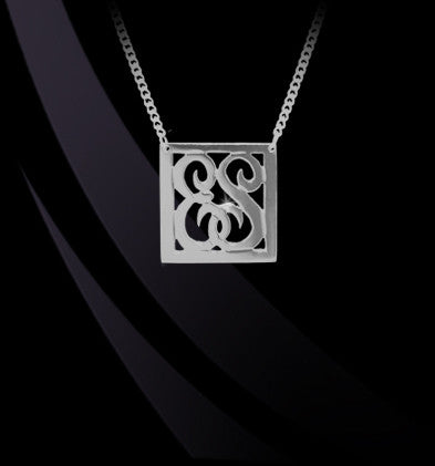 Two Initial Square Border Script Monogram Necklace by Jane Basch Apparel & Accessories > Jewelry > Necklaces