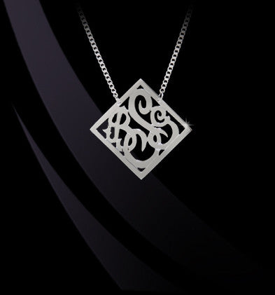 Diamond Shaped Bordered Script Monogram Necklace by Jane Basch Apparel & Accessories > Jewelry > Necklaces