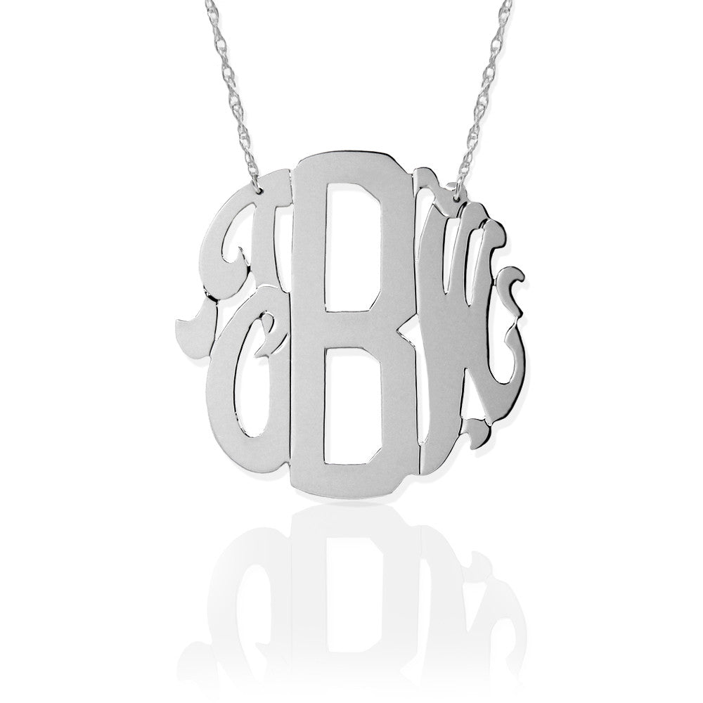 Jane Basch Sterling Silver Neo Classic Monogram Necklace