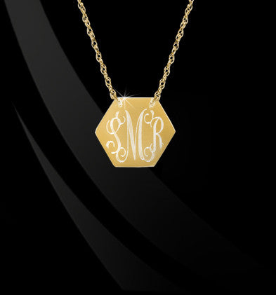 Engraved Hexagon Monogram Necklace by Jane Basch Apparel & Accessories > Jewelry > Necklaces