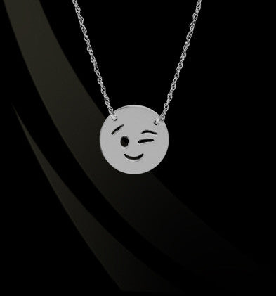 Wink Eye Emoji Necklace by Jane Basch Designs Apparel & Accessories > Jewelry > Necklaces - 1