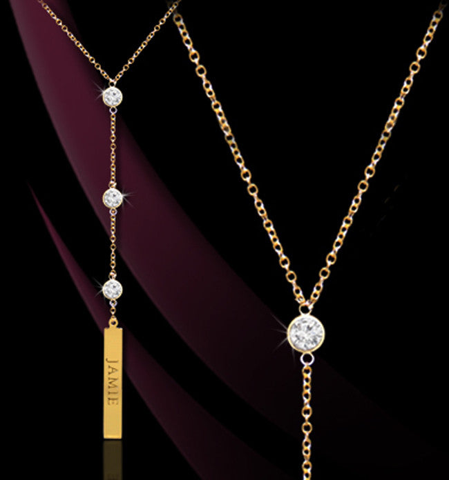 Personalized CZ Vertical Bar Lariat Necklace - Jane Basch Apparel & Accessories > Jewelry > Necklaces - 1