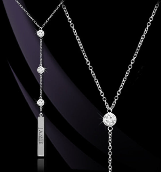 Personalized CZ Vertical Bar Lariat Necklace - Jane Basch 2