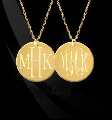 Reversible Engraved Monogram Necklace by Jane Basch Apparel & Accessories > Jewelry > Necklaces - 2