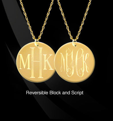 Reversible Engraved Monogram Necklace by Jane Basch Apparel & Accessories > Jewelry > Necklaces - 1