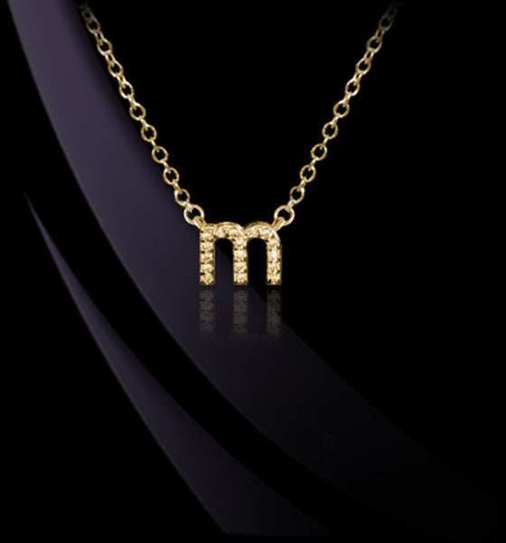 Petite 14K Gold Lowercase Diamond Initial Necklace - Jane Basch Apparel & Accessories > Jewelry > Necklaces - 1