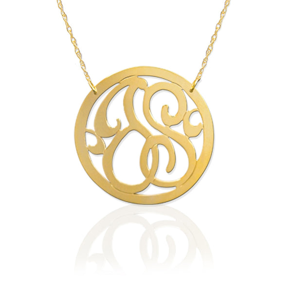 Rimmed 2 Initial Lace Monogram Necklace Apparel & Accessories > Jewelry > Necklaces - 1