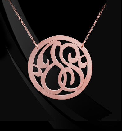 Rimmed 2 Initial Lace Monogram Necklace Apparel & Accessories > Jewelry > Necklaces - 2