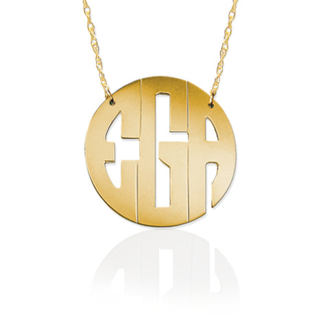 Gold Block Monogram Necklace by Jane Basch Apparel & Accessories > Jewelry > Necklaces - 1