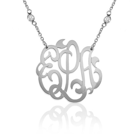 Silver Freeform Monogram on CZ Cubic Zirconia Necklace Apparel & Accessories > Jewelry > Necklaces