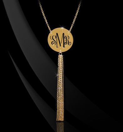 Pierced Monogram Necklace with Tassel - Jane Basch Apparel & Accessories > Jewelry > Necklaces - 1