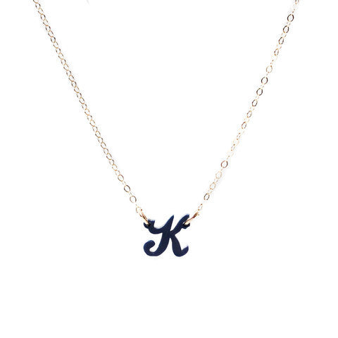 Acrylic Script Mini Initial Necklace by Moon and Lola Apparel & Accessories > Jewelry > Necklaces - 1