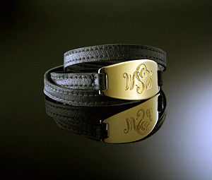 Lisa Stewart Gold and Leather Monogram Wrap Bracelet Apparel & Accessories > Jewelry > Bracelets - 2