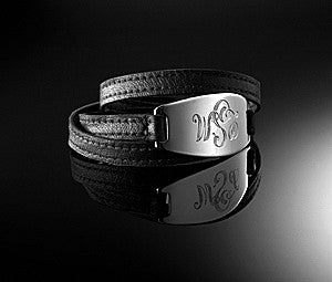 Lisa Stewart Silver and Leather Monogram Wrap Bracelet Apparel & Accessories > Jewelry > Bracelets