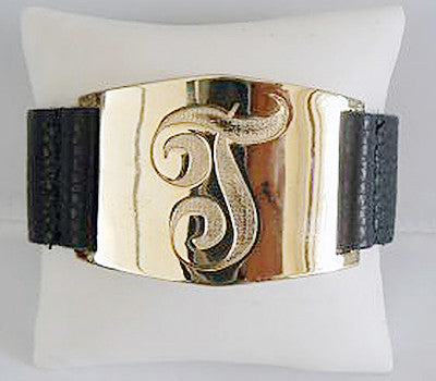 Lisa Stewart Personalized Gold and Leather Bracelet Apparel & Accessories > Jewelry > Bracelets - 3