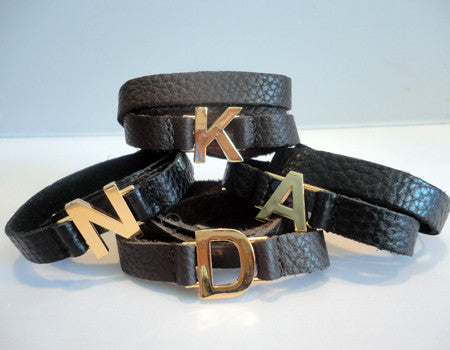 Lisa Stewart Leather Wrap Initial Bracelet Apparel & Accessories > Jewelry > Bracelets - 2