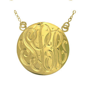 Hand Engraved Gold Disc Split Chain Necklace-Purple Mermaid Designs Apparel & Accessories > Jewelry > Necklaces - 1