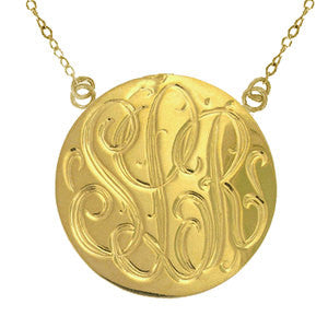 Hand Engraved Gold Disc Split Chain Necklace-Purple Mermaid Designs Apparel & Accessories > Jewelry > Necklaces - 2