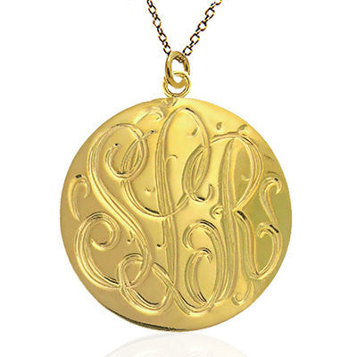Hand Engraved Gold Disc Necklace by Purple Mermaid Designs Apparel & Accessories > Jewelry > Necklaces