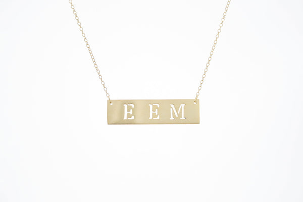 Pierced Initials Bar Necklace Apparel & Accessories > Jewelry > Necklaces - 3