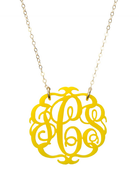 Acrylic Script  Monogram Necklace by Moon and Lola Apparel & Accessories > Jewelry > Necklaces - 3