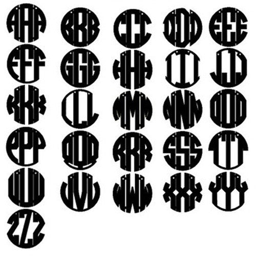 Acrylic Vineyard Round Block Monogram Post Earrings by Moon and Lola Apparel & Accessories > Jewelry > Earrings - 2