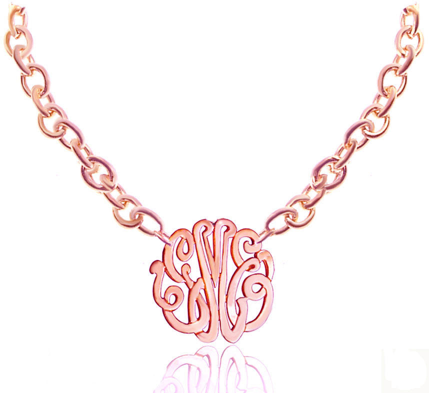 Keti Sorely Designs 24K Rose Gold Plated Monogram Necklace Apparel & Accessories > Jewelry > Necklaces