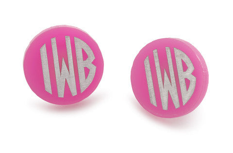 Acrylic Block Monogram Stud Earrings by Moon and Lola Apparel & Accessories > Jewelry > Earrings - 2