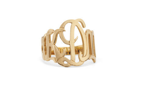 Moon and Lola Gold Cutout Monogram Ring Apparel & Accessories > Jewelry > Rings