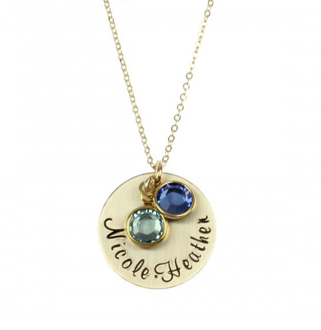 Hand Stamped Mothers Necklace with Birthstones