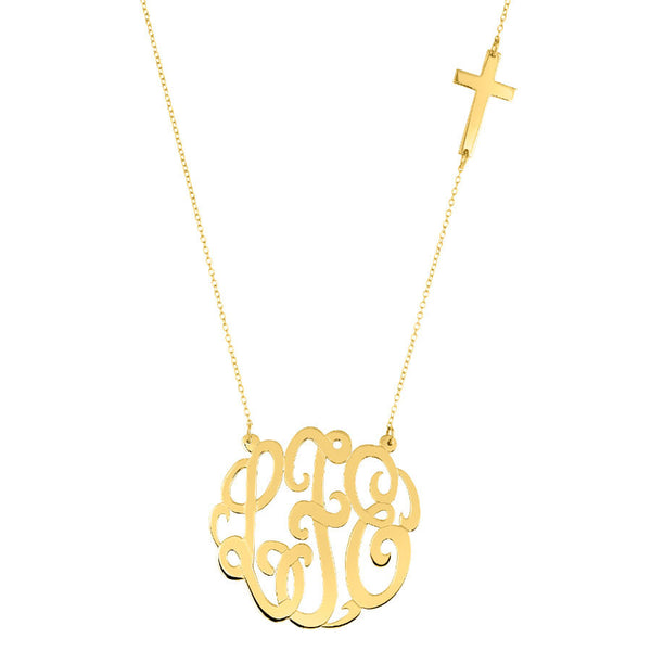 Gold Monogram Necklace with Sideways Cross by Purple Mermaid Designs Apparel & Accessories > Jewelry > Necklaces - 1
